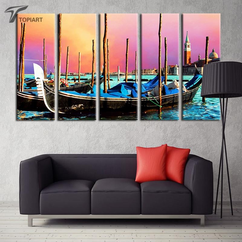 Aliexpress : Buy 5 Panel Canvas Wall Art Venice Gondola Boat With Italian Scenery Wall Art (Image 6 of 20)