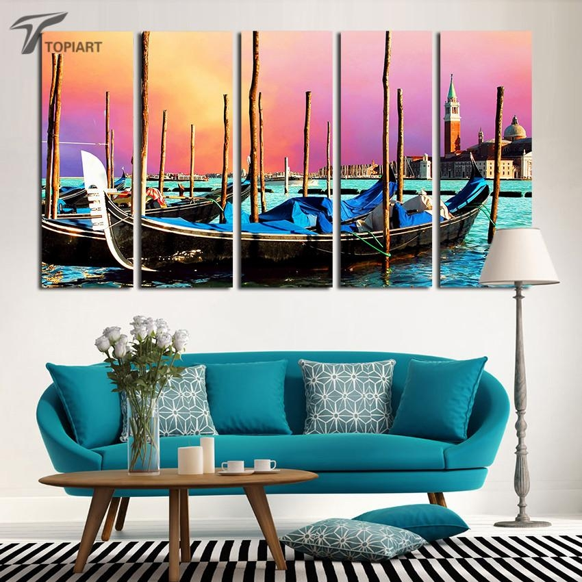 Aliexpress : Buy 5 Panel Canvas Wall Art Venice Gondola Boat With Regard To Italian Scenery Wall Art (Image 7 of 20)