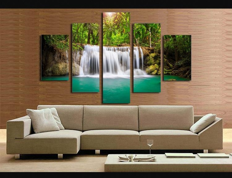 Aliexpress : Buy 5 Panel The Moving Waterfall Large Hd Home Regarding Moving Waterfall Wall Art (Image 3 of 20)