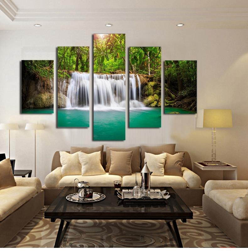 Aliexpress : Buy 5 Panel The Moving Waterfall Large Hd Home Within Moving Waterfall Wall Art (Image 4 of 20)