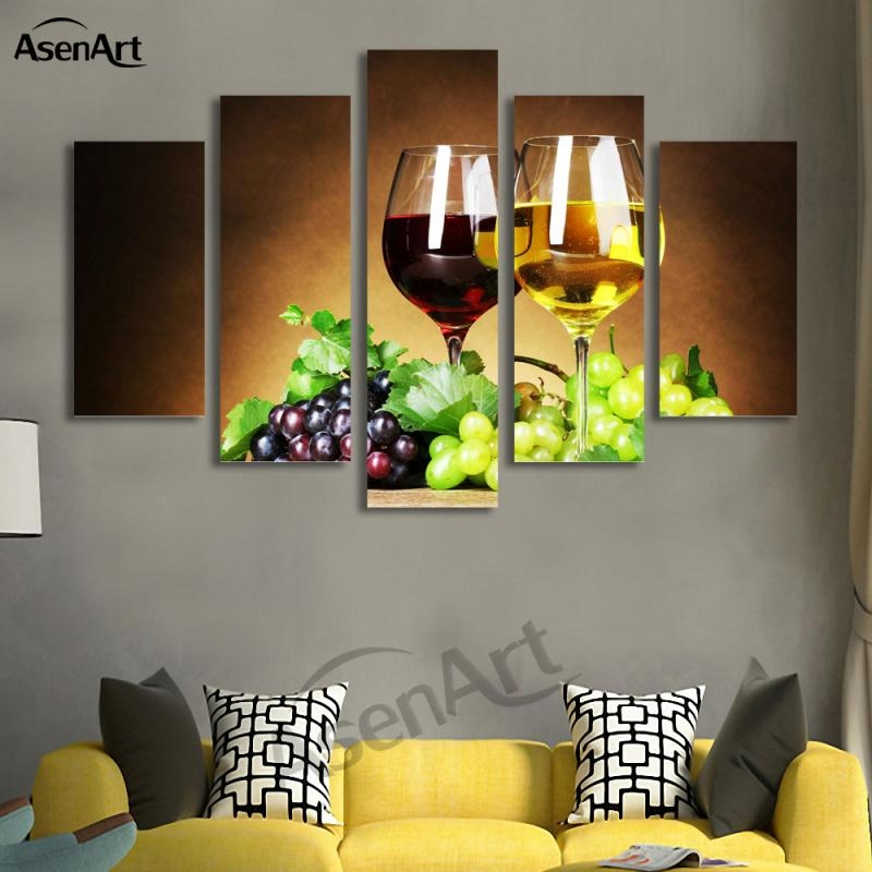 Aliexpress : Buy 5 Panel Wall Art Fruit Grape Wine Glass Regarding Wine And Grape Wall Art (View 7 of 20)
