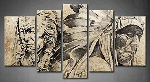 Aliexpress : Buy 5 Panel Wall Art Tattoo Sketch Of American With Tattoos Wall Art (Image 5 of 20)