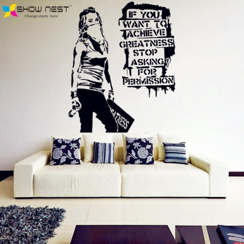 Aliexpress : Buy Banksy Vinyl Wall Decal Want To Achieve For Street Wall Art Decals (Image 4 of 20)