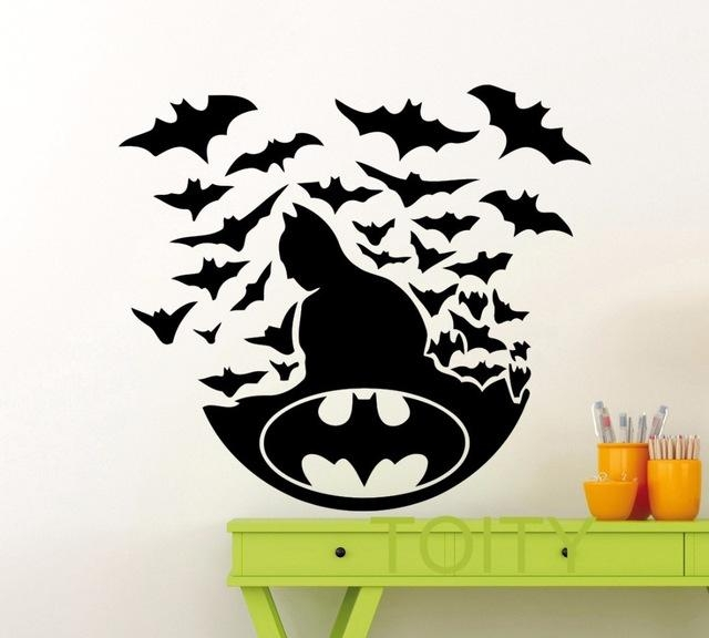 Aliexpress : Buy Batman Poster Black Wall Art Sticker Dark Regarding Superhero Wall Art Stickers (Image 3 of 20)
