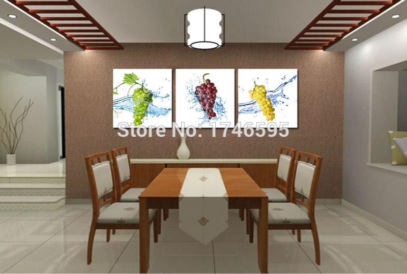 Aliexpress : Buy Big 3Pieces Modern Home Wall Decoration Grape Intended For Canvas Wall Art For Dining Room (View 14 of 20)