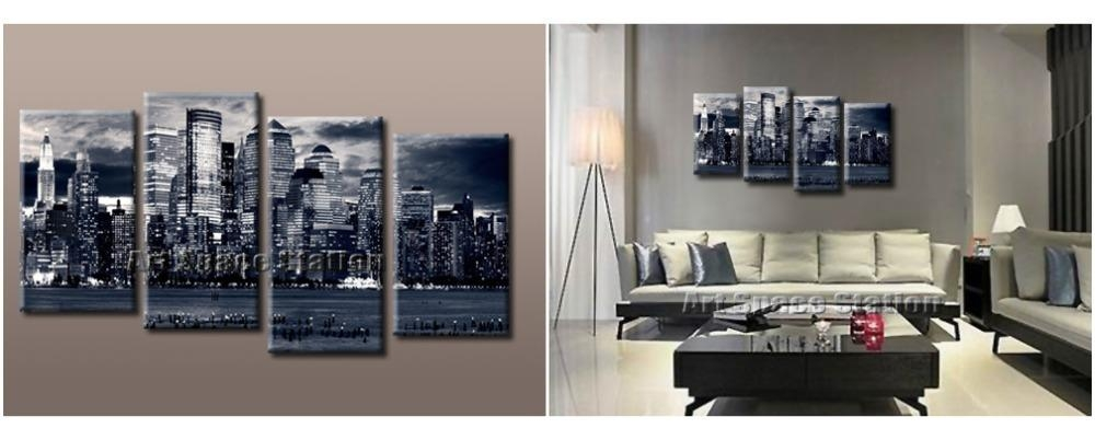 Aliexpress : Buy Black And White Canvas Wall Art, New York Regarding Black And White New York Canvas Wall Art (Image 3 of 20)