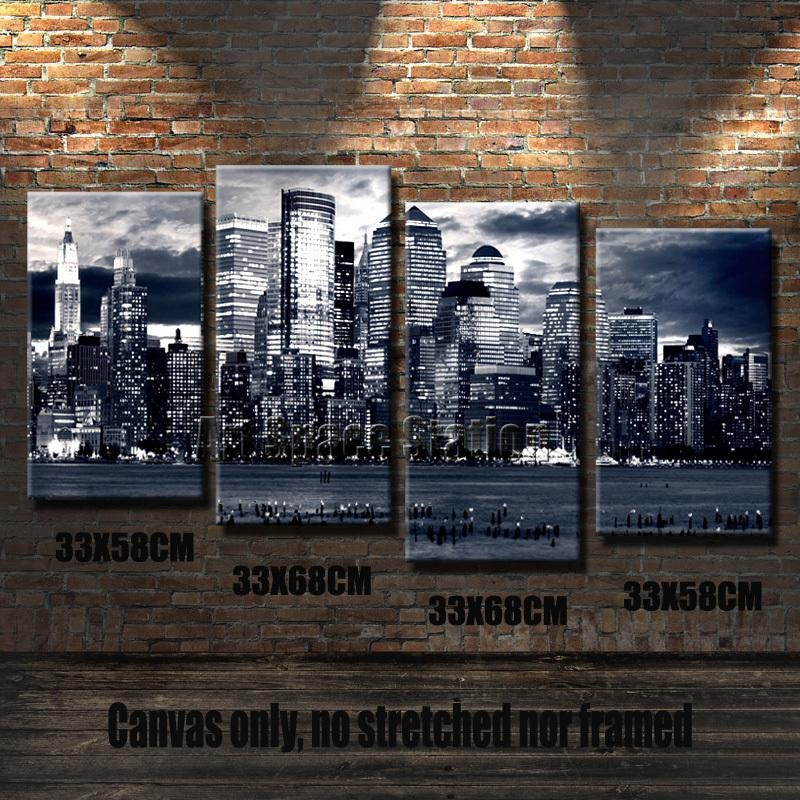 Aliexpress : Buy Black And White Canvas Wall Art, New York Regarding New York Skyline Canvas Black And White Wall Art (Photo 19 of 20)