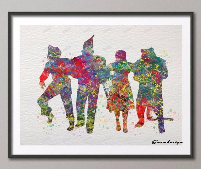 Aliexpress : Buy Diy Original Watercolor Wizard Of Oz Canvas Pertaining To Wizard Of Oz Wall Art (Image 6 of 20)