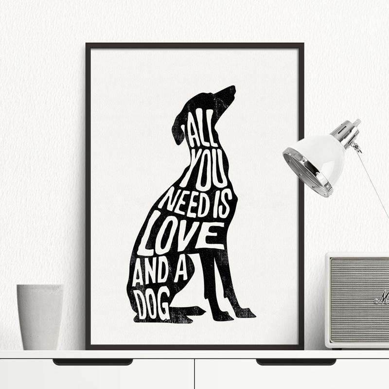 Aliexpress : Buy Dog Minimalist Poster Italian Greyhound Intended For Black And White Italian Wall Art (Image 9 of 20)