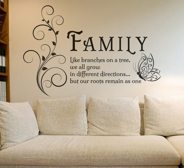 Aliexpress : Buy Family Like Branches Quotes Butterfly Vinyl In Tree Of Life Wall Art Stickers (Photo 2 of 20)