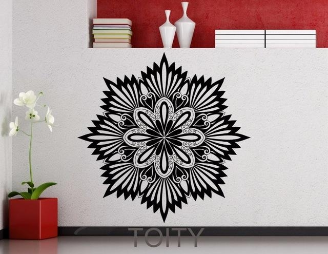 Aliexpress : Buy Flower Mandala Sticker Wall Art Gym Mehndi Throughout Pattern Wall Art (Image 3 of 20)