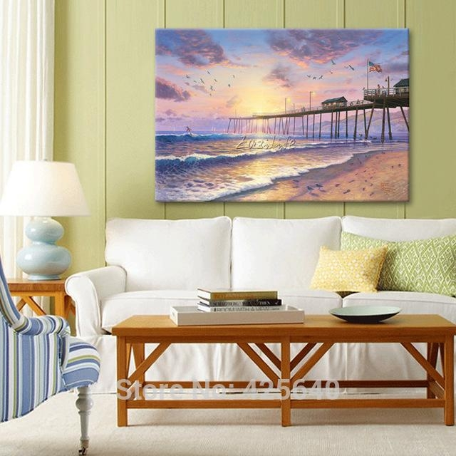 Aliexpress : Buy Framed Thomas Kinkade Oil Paintings Within Footprints In The Sand Wall Art (Image 3 of 20)