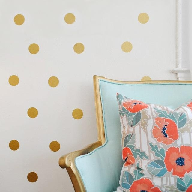 Aliexpress : Buy Gold Polka Dots Spot Diy Vinyl Wall Decals With Regard To Gold Wall Art Stickers (Image 2 of 20)