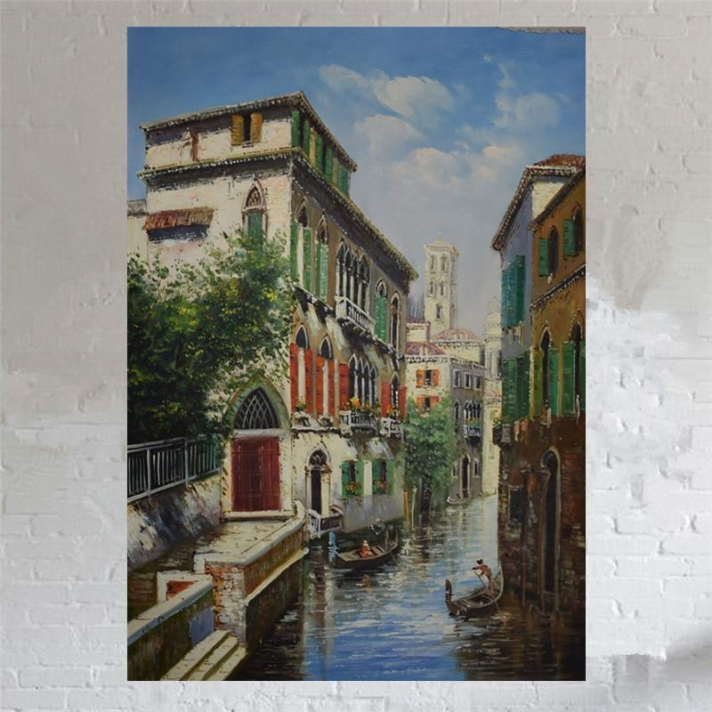 Aliexpress : Buy Hand Painted Canvas Oil Painting European In Italian Scenery Wall Art (Image 9 of 20)