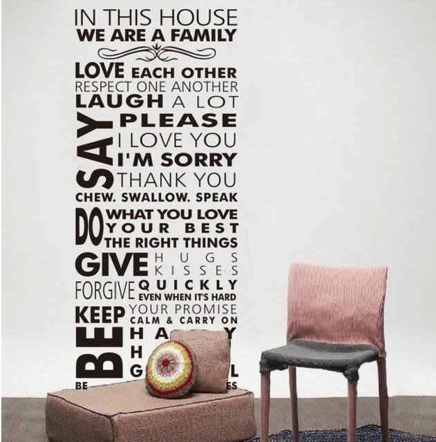 Aliexpress : Buy House Rule Wall Decals Rules Of Our Family Pertaining To Family Sayings Wall Art (Image 1 of 20)