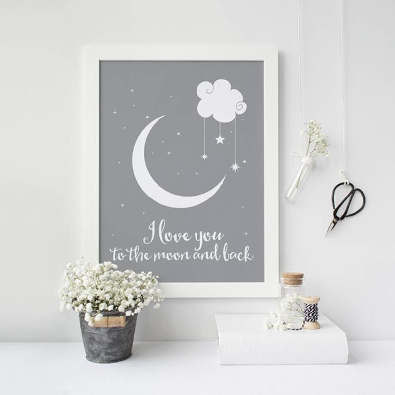 Aliexpress : Buy I Love You To The Moon And Back Classic With Nursery Framed Wall Art (Image 2 of 20)