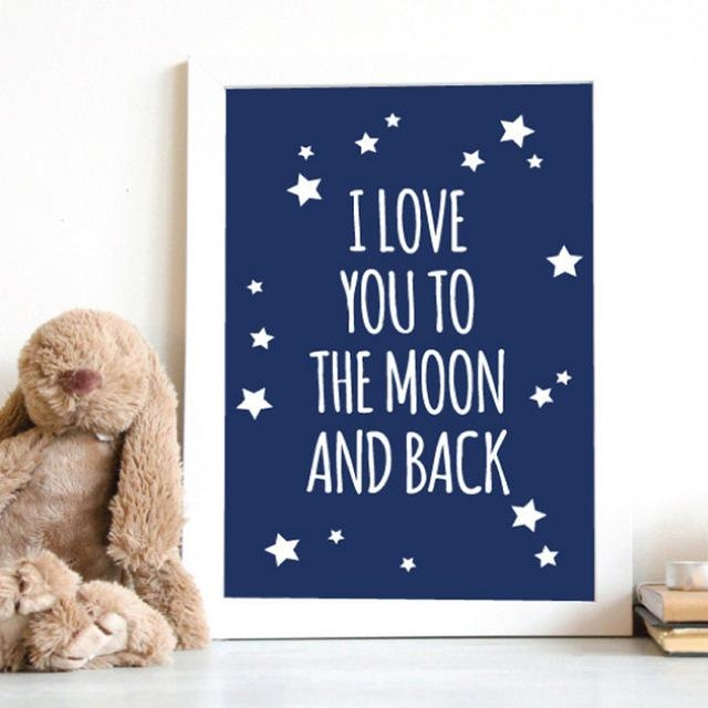 Aliexpress : Buy I Love You To The Moon And Back Nursery Within Love You To The Moon And Back Wall Art (Image 2 of 20)