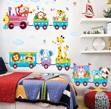 Aliexpress : Buy Lovely Cartoon Train Animals Pattern In Wall Art For Kindergarten Classroom (View 7 of 20)