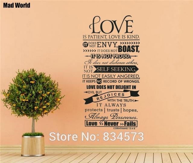 Aliexpress : Buy Mad World Bible Verse Love Is Patient Kind With Regard To Love Is Patient Love Is Kind Wall Art (Image 4 of 20)
