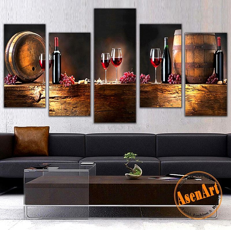 Aliexpress : Buy Modern 5Pcs Canvas Wall Paintings Fruit Grape Within Wine And Grape Wall Art (View 8 of 20)