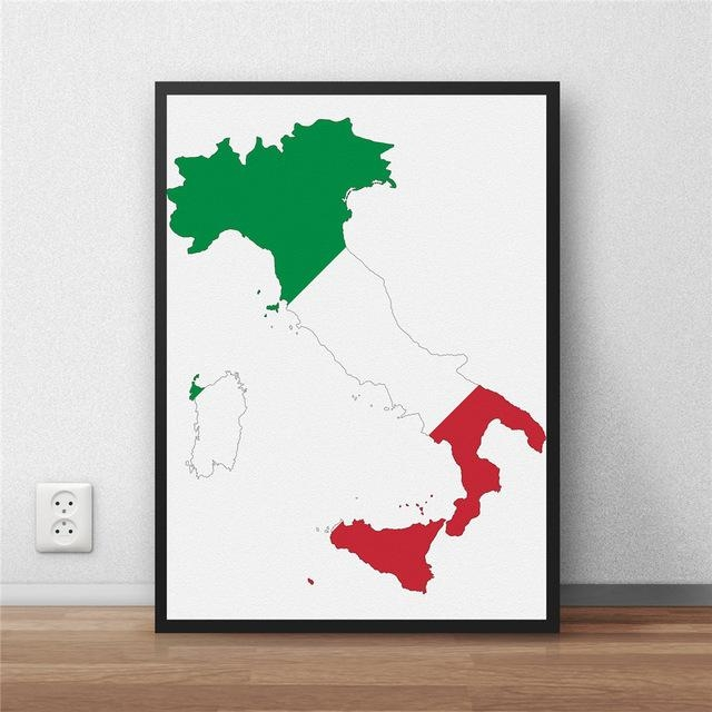 Aliexpress : Buy Modern Coated Poster Library Country Map Pertaining To Italian Flag Wall Art (Image 4 of 20)