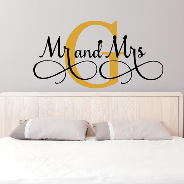Aliexpress : Buy Mr & Mrs Wall Stickers Custom Name Vinyl Wall Within Mr And Mrs Wall Art (Image 4 of 20)
