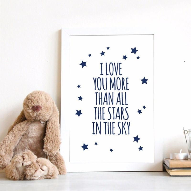 Aliexpress : Buy Nursery Quotes I Love You More Than All Stars Pertaining To I Love You More Wall Art (Image 3 of 20)