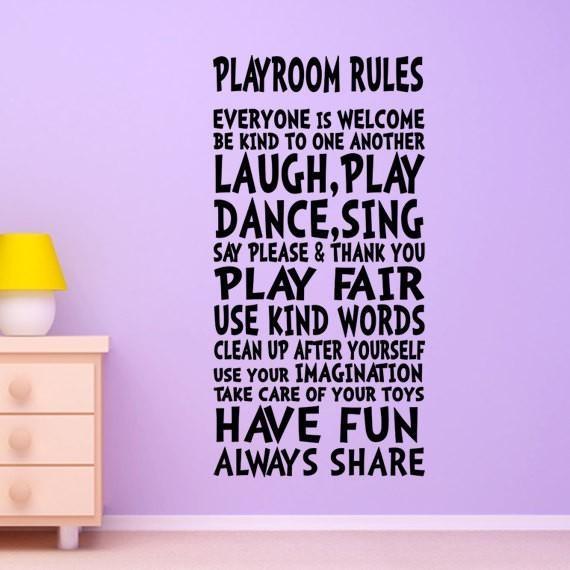 Aliexpress : Buy Playroom Rules Wall Decor Wall Art Sign For Intended For Playroom Rules Wall Art (Image 4 of 20)