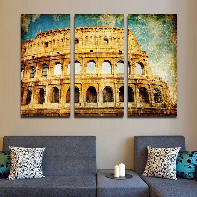 Aliexpress : Buy Roman Colosseum Classic Canvas Picture Inside Italian Wall Art For Living Room (Image 7 of 20)