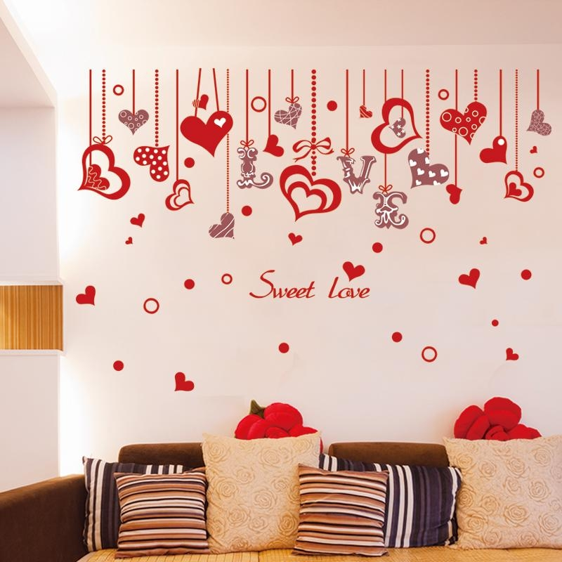 Aliexpress : Buy [Shijuehezi] Love Wall Sticker Red Color In Pattern Wall Art (Image 1 of 20)