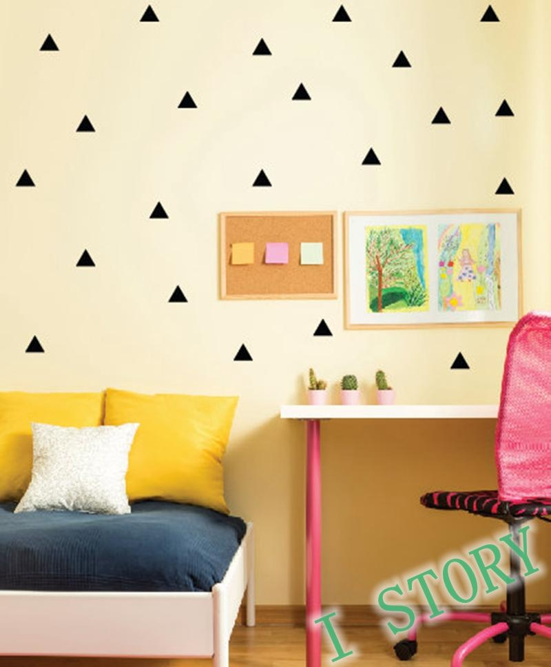Aliexpress : Buy Triangles Wall Sticker Kids Room Wall With Regard To Gold Wall Art Stickers (Image 4 of 20)