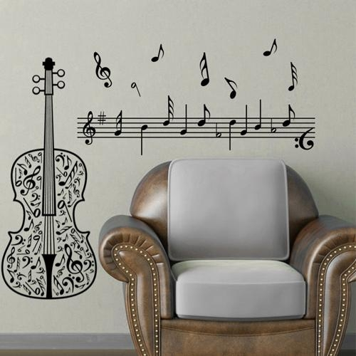 Aliexpress : Buy Wall Art Home Decoration Art Violin Music In Music Notes Wall Art Decals (Image 5 of 20)