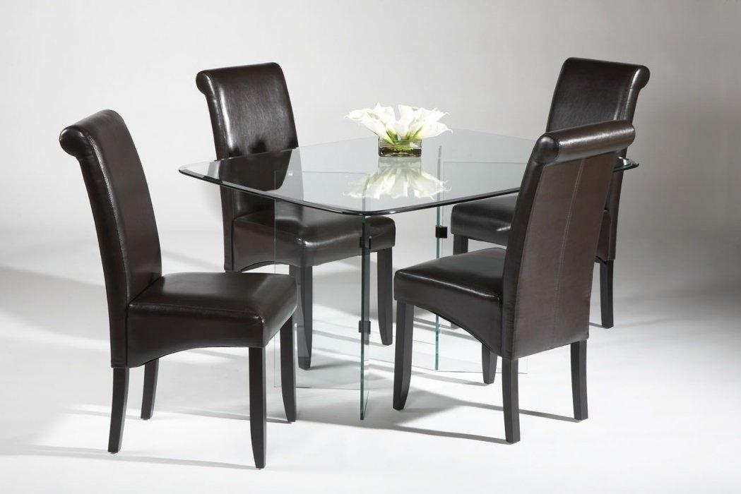 All Glass Dining Table Set With Brown Leather Chairs Arkansas With Most Recent Glass Dining Tables And Leather Chairs (View 9 of 20)