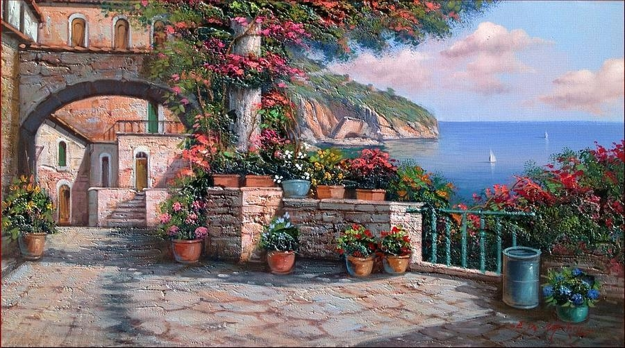 Amalfi Coast House Balcony Paintingernesto Di Michele Throughout Italian Coast Wall Art (View 11 of 20)