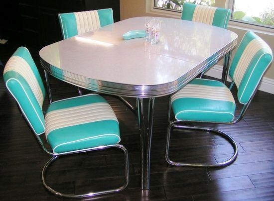 Amazing Chrome Dinette Chairs With Retro Chrome Dining Room Sets In Recent Chrome Dining Sets (Image 2 of 20)