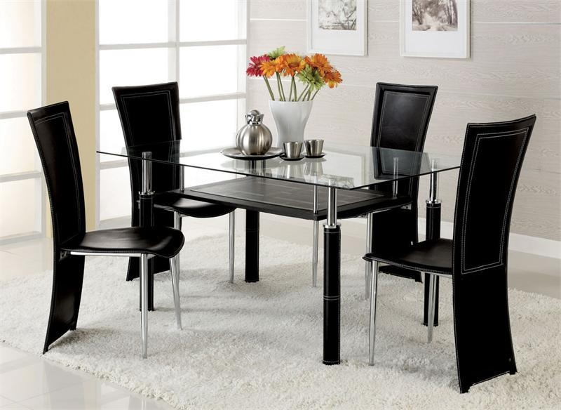 Amazing Glass Table And Chairs With Harley Black And Clear Glass In Most Popular Clear Glass Dining Tables And Chairs (Image 2 of 20)