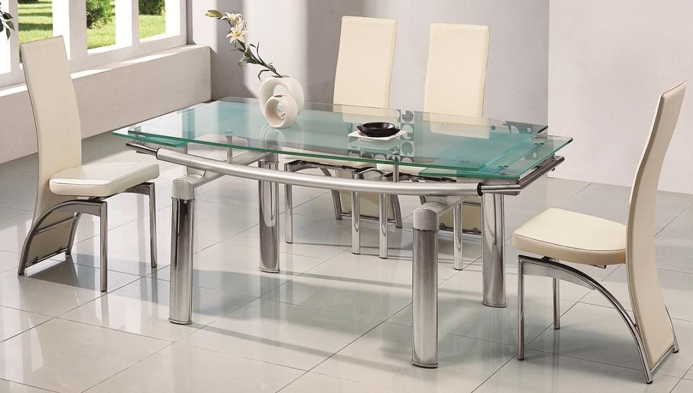 Amazing Glass Table And Chairs With Harley Black And Clear Glass Regarding Most Popular Clear Glass Dining Tables And Chairs (Image 3 of 20)