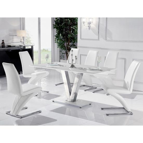 Amazing White Glass Dining Table With Dining Table White Pertaining To Most Popular White Glass Dining Tables And Chairs (Image 2 of 20)