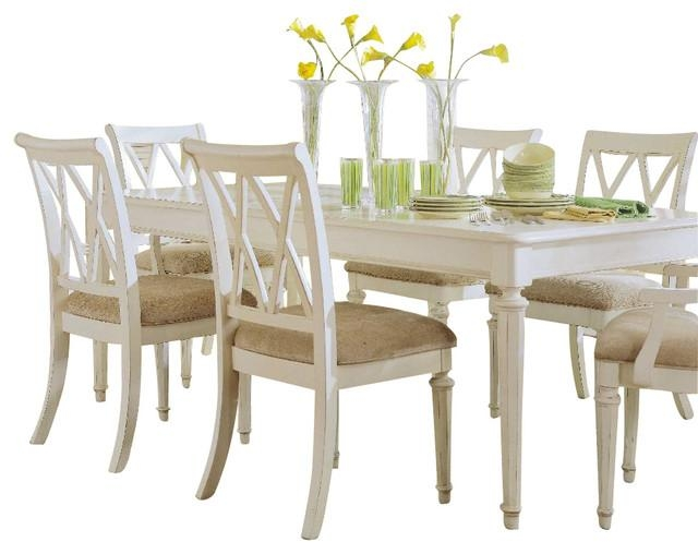 American Drew Camden Light 8 Piece Leg Dining Room Set In White With Regard To White Dining Sets (View 9 of 20)