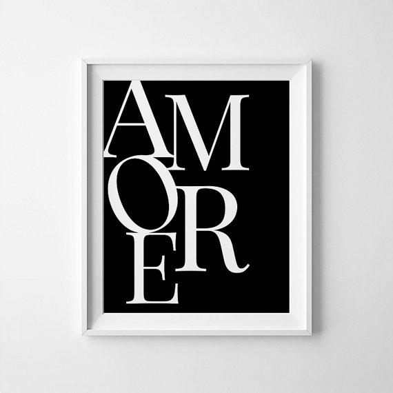 Amore Digital Print Italian Wall Decor Amore Printable In Black And White Italian Wall Art (Image 12 of 20)