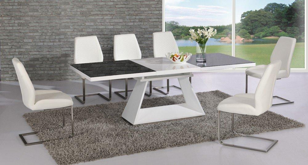 Amsterdam White Glass And Gloss Extending Dining Table 6 In Recent Black Glass Extending Dining Tables 6 Chairs (Image 1 of 20)