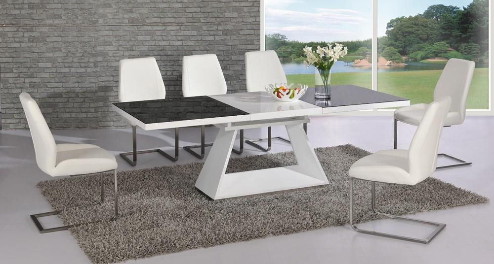 Amsterdam White Glass And Gloss Extending Dining Table 6 With Regard To White High Gloss Dining Tables 6 Chairs (View 15 of 20)