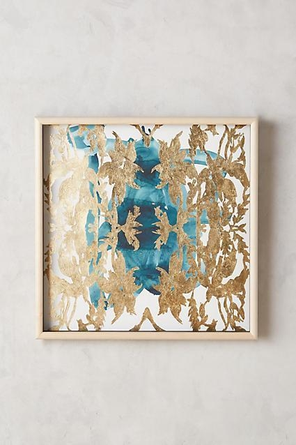 And Gold Leaves Wall Art In Teal And Gold Wall Art (Image 3 of 20)