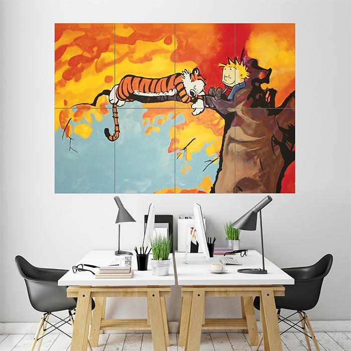 And Hobbes Block Giant Wall Art Poster Within Calvin And Hobbes Wall Art (Image 3 of 20)