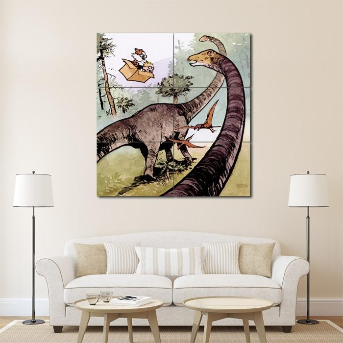 And Hobbes Dinosaur Block Giant Wall Art Poster Pertaining To Calvin And Hobbes Wall Art (Photo 1 of 20)