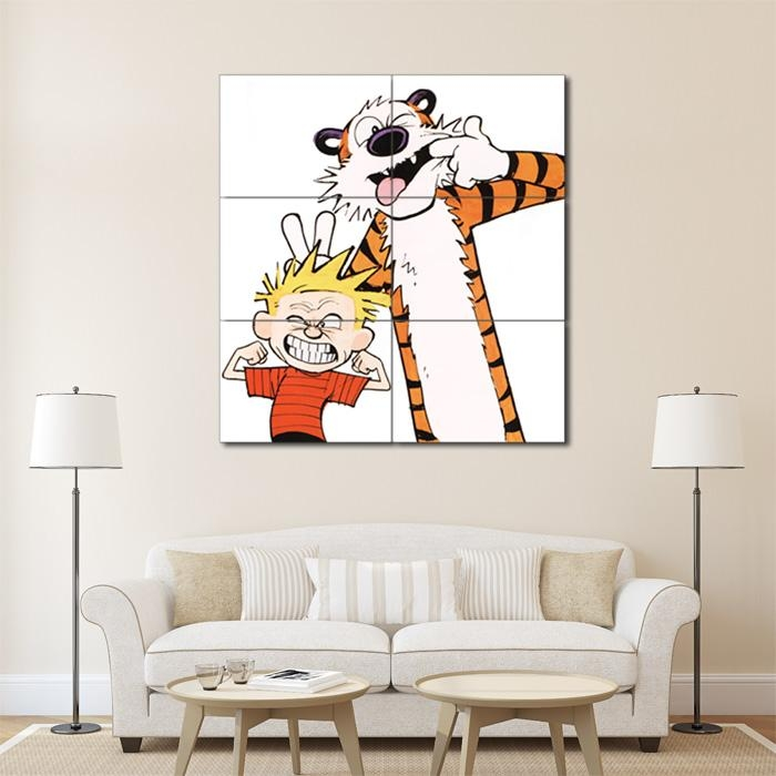 And Hobbes Emotion Face Block Giant Wall Art Poster Intended For Calvin And Hobbes Wall Art (Image 5 of 20)