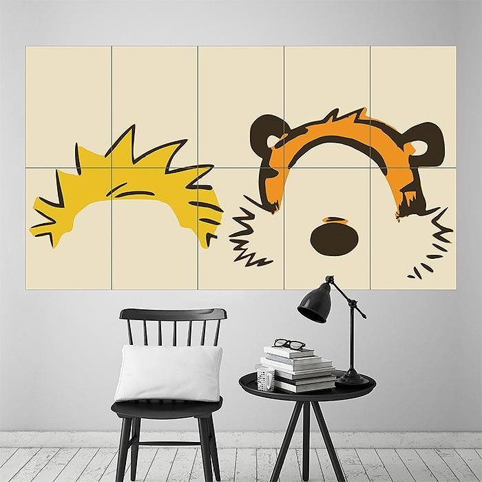 And Hobbes Face Block Giant Wall Art Poster With Regard To Calvin And Hobbes Wall Art (Image 6 of 20)