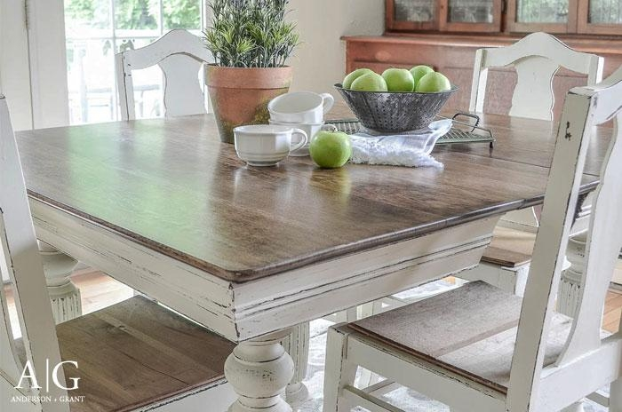Anderson + Grant: Antique Dining Table Updated With Chalk Paint With Regard To Best And Newest Painted Dining Tables (View 11 of 20)