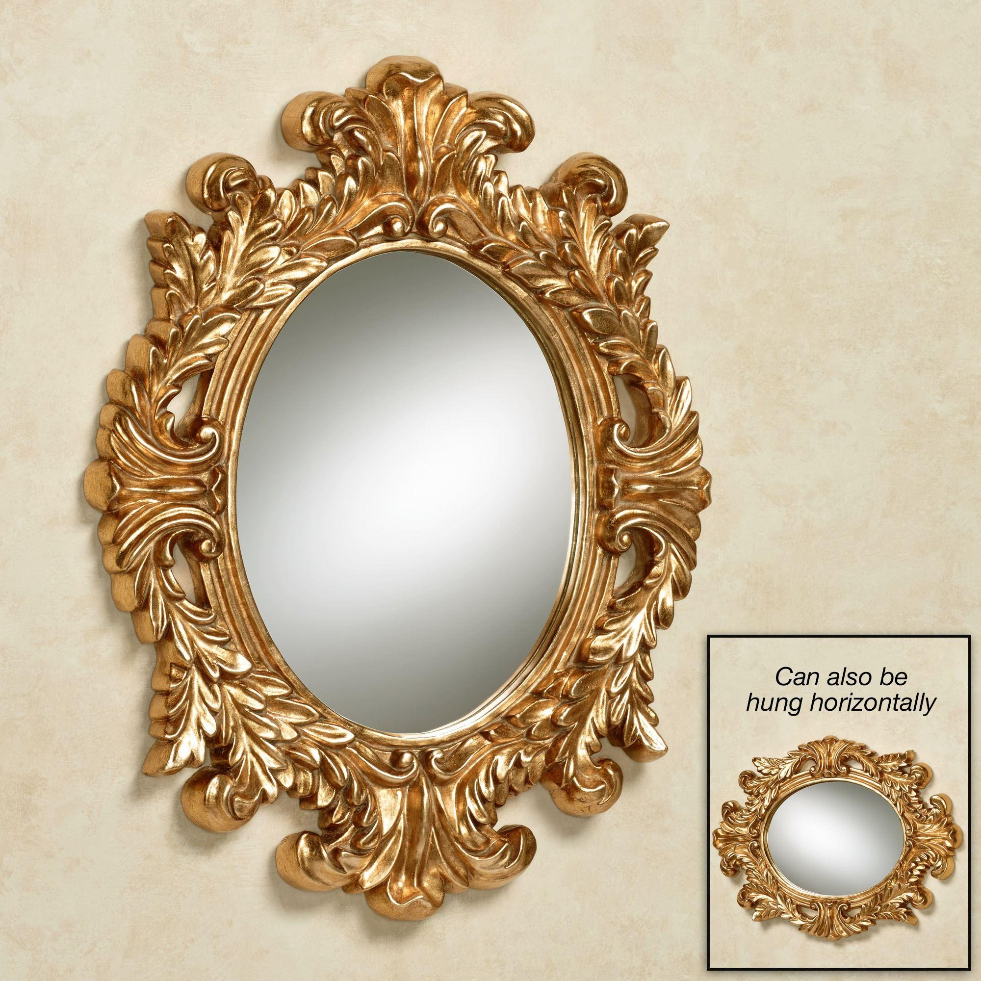 Angelic Acanthus Aged Gold Oval Wall Mirror Throughout Gold Oval Mirrors (Image 3 of 20)