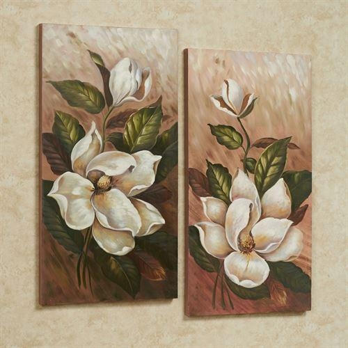 Annalynn Magnolia Floral Canvas Wall Art Set Regarding Floral Wall Art Canvas (Image 4 of 20)